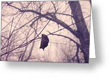 Lonely Winter Leaf Greeting Card