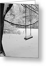 Lonely Winter Swing Ipswich Ma Greeting Card