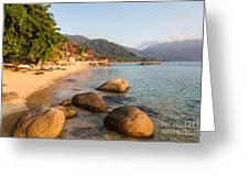 Long Chairs On A Beach In Pulau Tioman, Malaysia Greeting Card