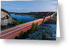 Long Exposure View Of Pennybacker Bridge Over Lake Austin At Twilight - Austin Texas Hill Country Greeting Card