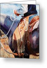 Long Fringed Chink Chaps Western Art Cowboy Painting Greeting Card