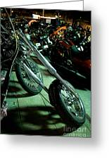 Long Front Fork And Wheel Of Chopper Bike At Night Greeting Card