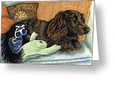 Long-haired Dachshund Watercolor Greeting Card