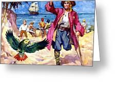 Long John Silver And His Parrot Greeting Card