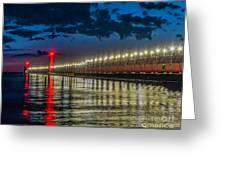 Long Lights At Grand Haven Pier Greeting Card