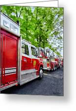 Long Line Of Fire Trucks Greeting Card