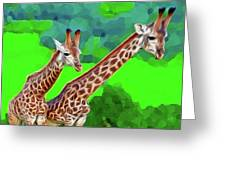 Long Necked Giraffes 3 Greeting Card
