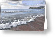 Long Waves At Trebarwith Greeting Card