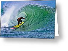 Longboarder In The Tube Greeting Card by Paul Topp