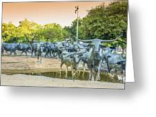 Longhorn Cattle Sculpture In Pioneer Plaza, Dallas Tx Greeting Card