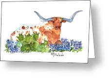 Longhorn In The Cactus And Bluebonnets Lh014 Kathleen Mcelwaine Greeting Card