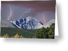 Longs Peak Lightning Storm Fine Art Photography Print Greeting Card