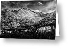 Longs Peak Rocky Mountain National Park Black And White Greeting Card