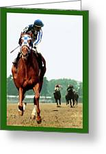 Looking Back, 1 1/2 Mile Belmont Stakes Secretariat 06/09/73 Time 2 24 - Painting Greeting Card