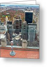 Looking Down At New York Central Park Surounded By Buildings Greeting Card