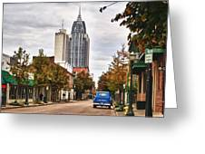 Looking Down Dauphin Street And The Blue Truck Greeting Card