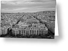 Looking Down On Barcelona From The Sagrada Familia Black And White Greeting Card