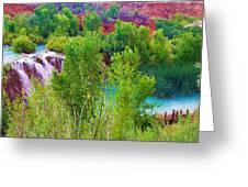Looking Down On Navajo Falls And Havasu Creek Greeting Card