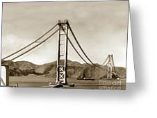 Looking North At The Golden Gate Bridge Under Construction With No Deck Yet 1936 Greeting Card