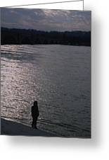 Looking Out Over A Flooded Potomac Greeting Card by Stacy Gold