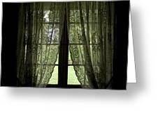 Looking Out The Window Of A Log Cabin Greeting Card