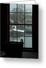 Looking Out Through A Window At Wooden Greeting Card by Todd Gipstein