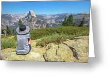 Looking Panorama At Glacier Point Greeting Card