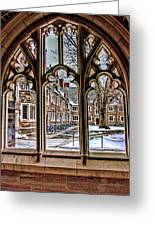 Looking Through An Arched Window At Princeton University At The Courtyard Greeting Card