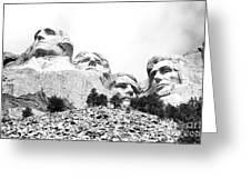 Looking Up At Mount Rushmore National Monument South Dakota Black And White Greeting Card
