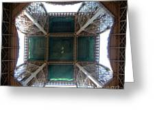 Looking Up Eiffel Tower Greeting Card