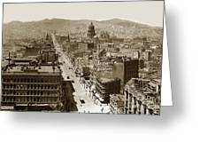 Looking Up Market Street From The Call Building With City Hall Circa 1900 Greeting Card