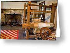 Loom And Fireplace In Settlers Cabin Greeting Card