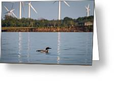 Loon And Windmills Greeting Card