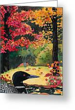 Loon In Water Garden Greeting Card