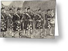 Lord Archibald Campbell And His Pipers Marching Through The Pass Of Glencoe Greeting Card