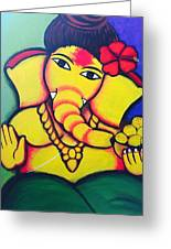 Lord Ganesh By  Sarada Tewari Acrylic Paint On Canvas 24x28inch Greeting Card