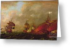 Lord Howe And The Comte Destaing Off Rhode Island Greeting Card by Robert Wilkins