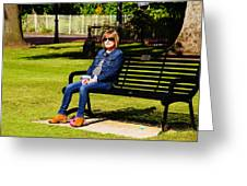 Lorna On A Bench Greeting Card
