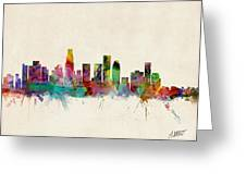 Los Angeles California Skyline Signed Greeting Card