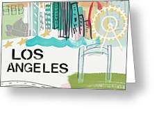 Los Angeles Cityscape- Art By Linda Woods Greeting Card