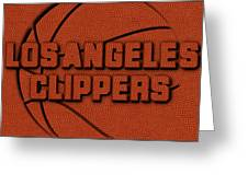 Los Angeles Clippers Leather Art Greeting Card