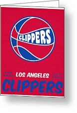 Los Angeles Clippers Vintage Basketball Art Greeting Card