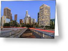 Los Angeles Downtown Night Scene Greeting Card