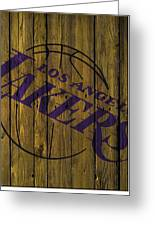 Los Angeles Lakers Wood Fence Greeting Card