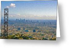 Los Angeles Skyline Between Power Lines Greeting Card
