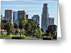 Los Angeles Skyline From Echo Park Greeting Card