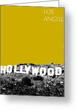 Los Angeles Skyline Hollywood - Gold Greeting Card