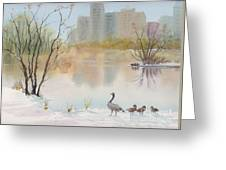 Lost Lagoon In Snow Greeting Card