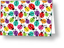 Lots Of Crayon Colored Ladybugs Greeting Card