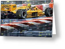 Lotus 99t 1987 Ayrton Senna Greeting Card by Yuriy  Shevchuk